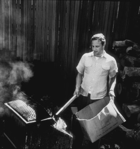 Marlon Brando in the backyard of his Beverly Glen home in Los Angeles 1953 © 1978 Sid Avery MPTV - Image 0007_0007