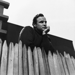 Marlon Brando in the backyard of his Beverly Glen home in Los Angeles 1953 © 1978 Sid Avery - Image 0007_0021