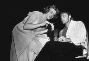 "Marlon Brando with Kim Hunter on the set of ""A Streetcar Named Desire""1951Photo by Jack AlbinMPTV - Image 0007_0090"
