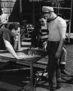 """Marlon Brando playing chess on the set of """"The Wild One""""1954 Columbia PicturesPhoto by Irving Lippman** I.V. - Image 0007_1045"""