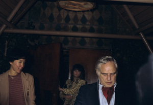 Marlon Brando and Yachio Tsubaki coming out of Trader Vic