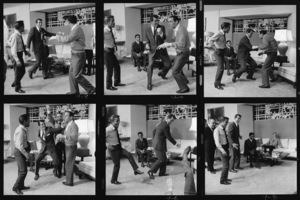 "Sammy Davis Jr., Dean Martin, Frank Sinatra and Joey Bishop stage a fight during the making of ""Ocean"