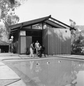 Sammy Davis Jr. outside of his Hollywood Hills home