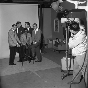 """Sammy Davis Jr. with Frank Sinatra, Dean Martin, Peter Lawford and Joey Bishop as they pose for a publicity photo during the making of """"Ocean"""