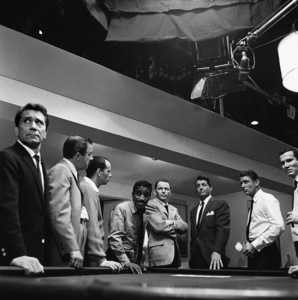 """Sammy Davis Jr. with Richard Conte, Buddy Lester, Joey Bishop, Frank Sinatra, Dean Martin, Peter Lawford and Henry Silva during the making of """"Ocean"""