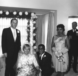 Sammy Davis Jr. and May Britt on their wedding day as Frank Sinatra and Shirley Rhodes stand behind November 1960 © 1978 Bernie Abramson - Image 0009_2185