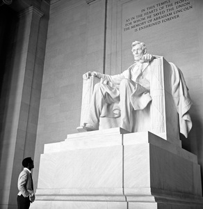 Sammy Davis Jr. at the Lincoln Memorial in Washington, DC the week of Martin Luther King