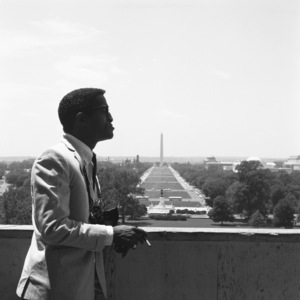 Sammy Davis Jr. at the Washington Monument in Washington, DC the week of Martin Luther King