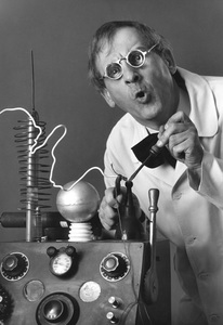 Hans Conried characterizing a mad scientist 1961 © 1978 Sid Avery - Image 0010_0002