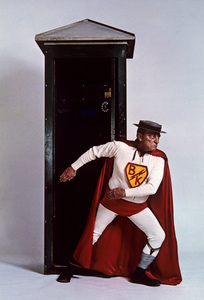 """Buster Keaton as """"Superman"""" for a U.S. Steel advertisement 1964 © 1978 Sid Avery - Image 0014_0040"""