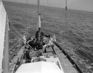 """Humphrey Bogart and friends on his Yacht """"Santana"""" off the cost of Southern California 1952 © 1978 Sid Avery - Image 0015_0035"""
