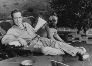 Humphrey Bogart with his pet boxer, Harvey, at his Benedict Canyon home, CA, 1948. MPTV - Image 0015_0109