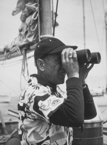 "Humphrey Bogart on his yacht, ""Santana,"" 1952.MPTV - Image 0015_0117"