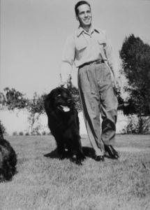 "Humphrey Bogart with his black Newfoundland dog, ""Cappy,"" at home, circa 1944.MPTV - Image 0015_1114"