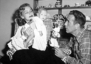 Humphrey Bogart, Lauren Bacall, and their son, Stephen, at home, 1949.MPTV - Image 0015_1342