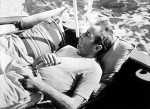"Humphrey Bogart, on his boat, ""Sluggy,"" circa 1941.MPTV - Image 0015_1352"