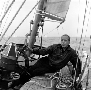 "Humphrey BogartAt the Wheel of ""Santana,"" 1954.Copyright John Swope Trust / MPTV - Image 0015_1440"