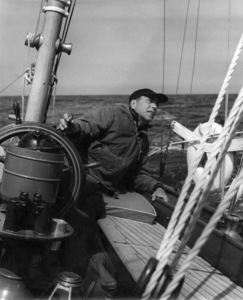 "Humphrey Bogart at the wheel of ""Santana"" 1954 © John Swope Trust  - Image 0015_1442"