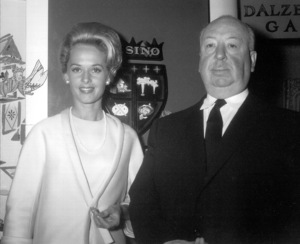 "Alfred Hitchcock with Tippi Hedren in a publicity shot for ""The Birds""1963  Universal **I.V. - Image 0017_2039"