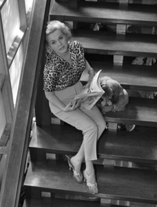 Zsa Zsa Gabor with her pet dog at her Bel Air home1958 © 1978 Sid Avery - Image 0018_0154a
