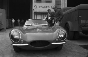 Steve McQueen examining his 1957 XK-SS Jaguar with director John Sturges on the Goldwyn studio lot in Hollywood1960© 1978 Sid Avery - Image 0019_0002