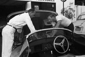 Steve McQueen talking to his 1957 XK-SS Jaguar mechanic at Grand Prix Motors on Melrose Avenue in Los Angeles1960© 1978 Sid Avery - Image 0019_0058
