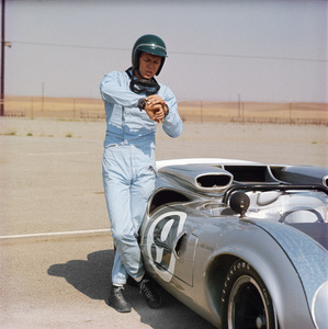 Steve McQueen and his Lola T70 at Riverside Raceway in Riverside, California 1966 © 1978 Chester Maydole - Image 0019_0837