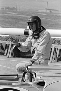 Steve McQueen and his Lola T70 at Riverside Raceway in Riverside, California 1966 © 1978 Chester Maydole - Image 0019_1052