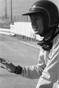 Steve McQueen and his Lola T70 at Riverside Raceway in Riverside, California 1966 © 1978 Chester Maydole - Image 0019_1057