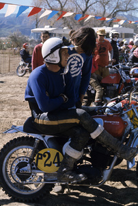 Steve McQueen racing on his Husqvarna motorcycle at Indian Dunes circa 1970s © 1978 Chester Maydole - Image 0019_1059