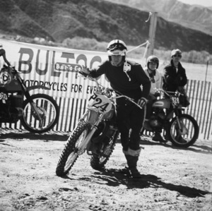 Steve McQueen racing on his Husqvarna motorcycle at Indian Dunes circa 1970s © 1978 Chester Maydole - Image 0019_1064