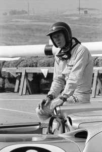 Steve McQueen and his Lola T70 at Riverside Raceway in Riverside, California 1966 © 1978 Chester Maydole - Image 0019_1112