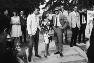 Vic Damone, Natalie Wood and Steve McQueen at a Luci Baines Johnson barbecue (photographer William Claxton in background)1964© 1978 Chester Maydole - Image 0019_1157