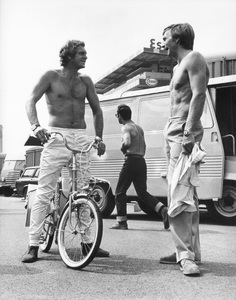 """Steve McQueen with Juan Manuel Fangio during the making of """"Le Mans"""" 1970Photo by Mel Traxel** I.V. - Image 0019_1500"""