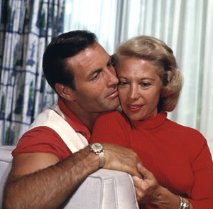 Dinah Shore and her husband George Montgomery at their home in Beverly Hills, CA1957 © 1978 Sid Avery - Image 0020_0101