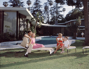Dinah Shore and husband George Montgomery at their Beverly Hill