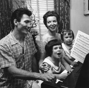 Jack Palance with his wife, Virginia, and daughters, Holly and Brooke, at home in Beverly Hills, CA1954 © 1978 Sid Avery  - Image 0021_0031