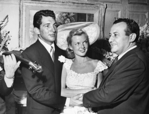 Dean Martin and bride Jeanne on their wedding day (held at Herman Hover