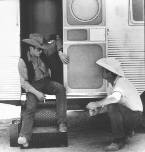 """James Dean on location for """"Giant"""" in Marfa, Texas, 1955. © 1978 Sid Avery - Image 0024_0039"""