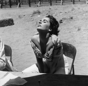 """Elizabeth Taylor sunning herself while on location in Marfa, Texas for the film """"Giant""""1955© 1978 Sid Avery - Image 0024_0040"""