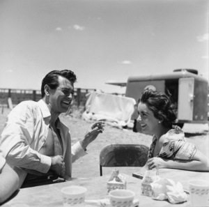 """Rock Hudson and Elizabeth Taylor on location for """"Giant"""" in Marfa, Texas1955© 1978 Sid Avery - Image 0024_0063"""