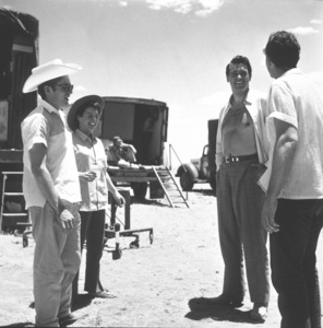 """James Dean and Rock Hudson on location for """"Giant"""" in Marfa, Texas, 1955. © 1978 Sid Avery - Image 0024_0159"""