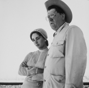 """Elizabeth Taylor and George Stevens on location for """"Giant"""" in Marfa Texas1955 © 1978 Sid AveryMPTV - Image 0024_0187"""