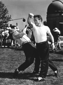 """James Dean practicing a punch onthe set of """"Rebel Without A Cause.""""1955 Warner / MPTV - Image 0024_0232"""
