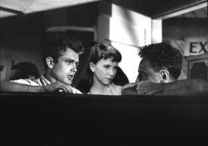 "James Dean, Julie Harris, and Director Elia Kazan on the set of ""East of Eden.""1955 Warner / MPTVPhoto by Floyd McCarty - Image 0024_0233"