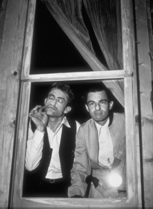 """James Dean and composer Leonard Rosenmanhaving a comedic moment while on locationfor """"East of Eden.""""1955 Warner / MPTVPhoto by Floyd McCarty - Image 0024_0242"""