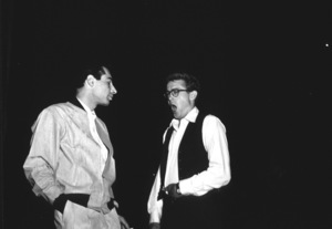 """James Dean wiht composer Leonard Rosenman between scenesfor """"Rebel Without A Cause.""""1955 Warner / MPTVPhoto by Floyd McCarty - Image 0024_0279"""