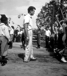 "James Dean between takes of carnivalscene in ""East of Eden.""1955 Warner / MPTVPhoto by Floyd McCarty - Image 0024_0318"