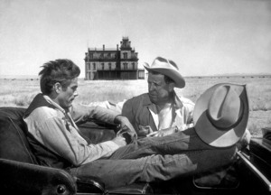 """James Dean and Director George Stevenson location for """"Giant"""" in Marfa Texas.1955.Photo by Floyd McCarty - Image 0024_0400"""