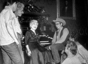 """James Dean and Edna Ferber, the author of """"Giant"""" on the movie set, 1955.Photo by Floyd McCarty - Image 0024_0403"""